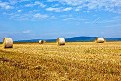 Bales of straw on a field Stock Photography