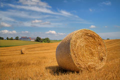 Bales of straw on a field Stock Images