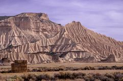Bales of straw in Las Bardenas Reales de Navarra stock photography
