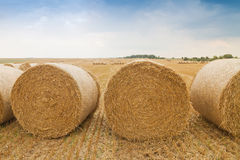 Bales of straw on stubble field Royalty Free Stock Image