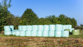 Bales of straw wrapped in plastic. Straw bales wrapped in plastic sheeting after harvest to be protected from humidity royalty free stock photo