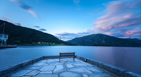 Balestrand. Norway,sunrise time with relaxing , smooth wave Royalty Free Stock Image