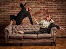 Baletniczy tancerz i męski łaciński tancerz w współczesnym stylu Obrazy Stock