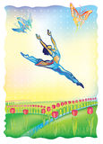 baletniczy tancerz podążać i słońce royalty ilustracja