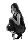 Balett och höjdpunkt för härlig ballerinadansare bärande Arkivbild