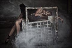 Balettdansör i ram royaltyfria foton