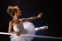 Balettdansör som poserar vid stången Royaltyfri Fotografi