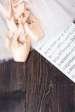 Balettskor, kjol och musikark Arkivbild
