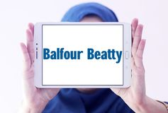 Balfour Beatty company logo. Logo of Balfour Beatty company on samsung tablet holded by arab muslim woman. Balfour Beatty plc is an English multinational Royalty Free Stock Photography