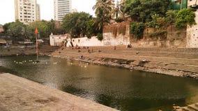 Balganga lake located in south Mumbai, Maharashtra, India. Pond, water, steps, perspective, birsd, duck royalty free stock photo