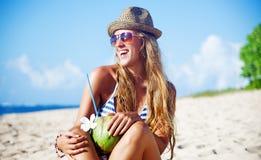 Bali. Beautiful tourist woman on summer vacation, beach, bali Stock Photos