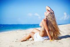 Bali. Beautiful tourist woman on summer vacation, beach, bali Royalty Free Stock Photography