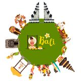 Bali abstract world vector. Illustrated poster with Bali landmark. Cartoon gazebo, Temple, motorcycle and balinese dancer stock illustration