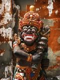 Bali: ancient statue of traditional protecting god Royalty Free Stock Images