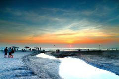 Bali beach. Sun set at Bali beach . The setting sun can be seen in the distance royalty free stock photography
