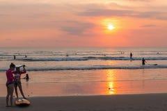 Bali beach. Sunset ocean surf Royalty Free Stock Photos
