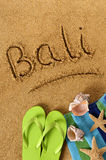 Bali beach sand word writing vertical Stock Images