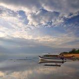 Bali boat & beach Panorama, Indonesia royalty free stock photo