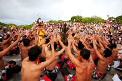 BALI - DECEMBER 30: traditional Balinese Kecak dance at Uluwatu Stock Photos
