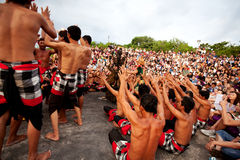BALI - DECEMBER 30: traditional Balinese Kecak dance at Uluwatu Stock Photography