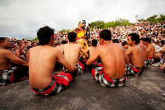 BALI - DECEMBER 30: traditional Balinese Kecak dance at Uluwatu Stock Photo