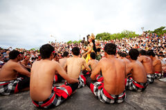 BALI - DECEMBER 30: traditional Balinese Kecak dance at Uluwatu Royalty Free Stock Photography
