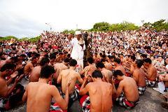 BALI - DECEMBER 30: traditional Balinese Kecak dance at Uluwatu Royalty Free Stock Image