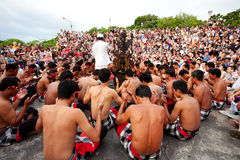 BALI - DECEMBER 30: traditional Balinese Kecak dance at Uluwatu Royalty Free Stock Photo
