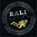 Bali dive center logo. Scyba diver on black; vector colored pencil Royalty Free Stock Photography