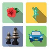 bali Ensemble d'icônes plates illustration stock