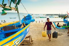 Bali-Fischermannarbeit Indonesien stockfotografie