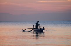 Bali Fisherman Dusk Royalty Free Stock Images