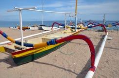 Bali Fishing Boat On Beach, Sanur, Indonesia. stock photo