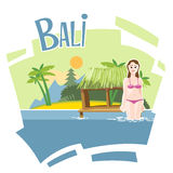 Bali flyer with a girl Royalty Free Stock Photos