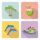 bali Grupo de ícones lisos Fotografia de Stock Royalty Free