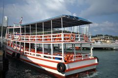 Bali Hai Pier, empty tourist boat during a sunny day stock image