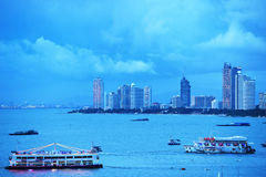 The Bali Hai Pier and skyscrapers in twilight time on July 27,2016 in Pattaya Royalty Free Stock Images