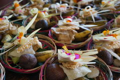 Bali Hindu religious offerings. Prepared in small baskets for sale Stock Images