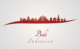 Bali horisont i rött stock illustrationer