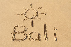 Bali i sanden Arkivbild