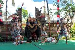 BALI, INDONESIË - MEI 5, 2017: Barongdans op Bali, Indonesië Barong is een godsdienstige die dans in Bali op groot wordt gebaseer Royalty-vrije Stock Afbeeldingen