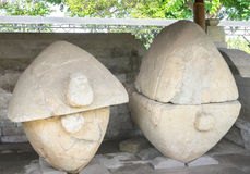 BALI, INDONESIA - 19.01.2017: Ancient indonesian sarcophagi with. A shape of tortoise, could be over 2000 years old, Gedong Arca Archeological Museum stock image