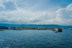 BALI, INDONESIA - APRIL 05, 2017: Beautiful view of the harbour from Ferry boat in Ubud, Bali Indonesia Stock Photography