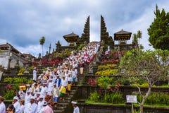 BALI INDONESIA - APRIL 26: Prayers in Pura Besakih Temple on Apr Stock Photography