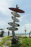 BALI, INDONESIA APRIL 3, 2016: Surf pointer on Kuta Beach in Bali, Indonesia. Stock Photo