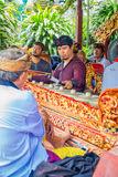 BALI, INDONESIA - APRIL 05, 2017:Unidentified people playing some musical instruments inside of a building in the. Beautiful temple in Ubud Bali located in Stock Photo