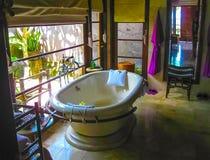 Bali, Indonesia - April 14, 2014: View of the room at Four Seasons Resort at Jimbaran Bay stock photo