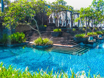 Bali, Indonesia - April 14, 2014: View of swimming pool at St. Regis Resort Royalty Free Stock Photos