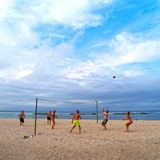 BALI, INDONESIA - AUGUST 16: Beach Volleyball challenge between royalty free stock photo