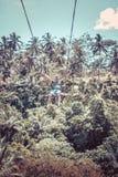 BALI, INDONESIA - 5 DE DICIEMBRE DE 2017: Hombre turístico joven que balancea en el acantilado en la selva tropical de la selva d Fotografía de archivo